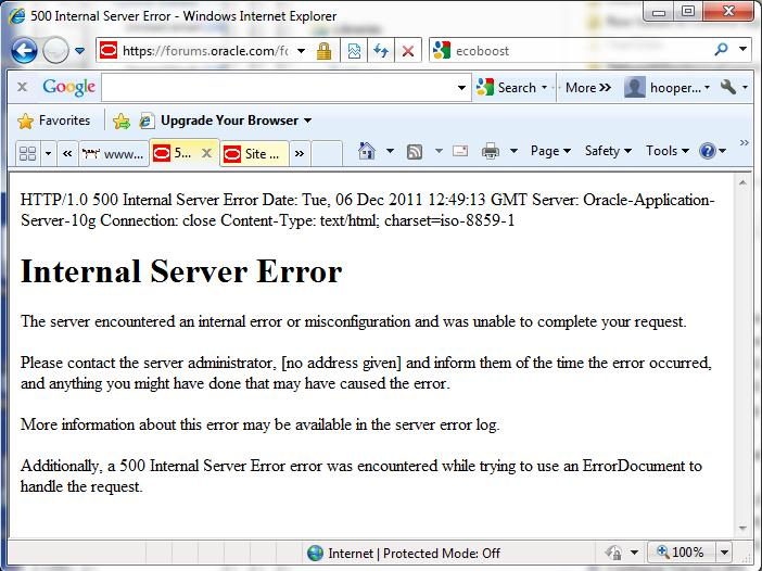 Internal Server Error – Contact Your System Administrator | Charles