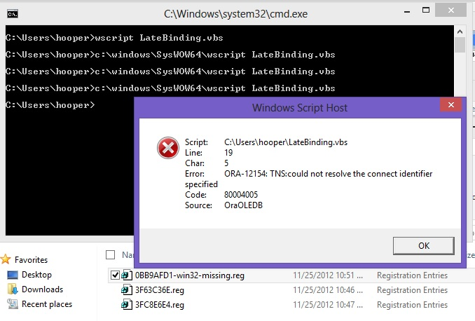 Connecting to an Oracle Database with Visual Basic 6 0 on Windows 8