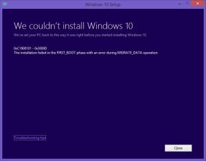 Windows10CouldNotInstallErrorFailedFirstBootMigrateData