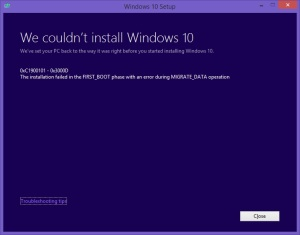 Windows10CouldNotInstallErrorFailedFirstBootMigrateData